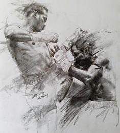 Kickboxing, Mma, Muay Thai Tattoo, Karate, Boxing Posters, Human Anatomy Drawing, Fighting Poses, Creation Art, Boxing Fight