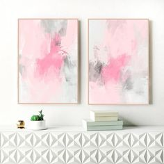 A set of two beautiful, contemporary abstracts with a soft palette of pink and grey shades. This set of original artworks is perfect for your relaxing, modern home. You can download and print these files instantly giving you the flexibility to print at a variety of sizes up to