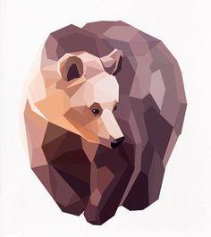 Ideas For Geometric Art Animal Illustration Low Poly Art And Illustration, Illustrations Posters, Art D'ours, Geometric Bear, Geometric Wall, Geometric Shapes, Polygon Art, Ouvrages D'art, Arte Sketchbook