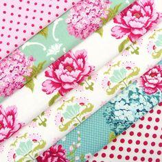Tilda Sewingbird, teal peony fabric value selection pack x 6 /craft decoration   eBay
