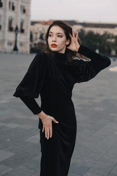 #orovicafashion #velvet #turtleneck #lbd Every Woman, Lbd, Black Velvet, Turtleneck, Silhouette, Outfits, Dresses, Women, Style