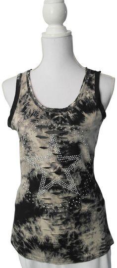 Achselshirt Top Shirt schwarz beige Batik Risse Stern Nieten Strass L/XL