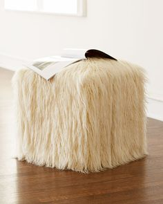 Faux-Fur Pouf to use with the whites or the blues