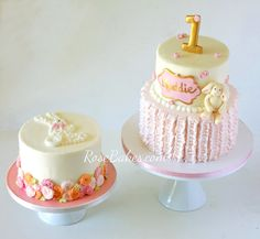 Bunny 1st Birthday Cakes - click over to Rose Bakes to get all the details on these Bunny 1st Birthday Cakes! They're perfect for Easter or a little girl's