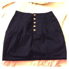 Zara high waisted navy mini skirt The mini skirt is in again! This is a super cute nautical Zara skirt with gold buttons. Can be worn high rise. Zara Skirts Mini