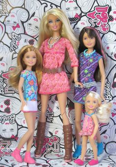 """Barbie w/ her sisters Stacie, Skipper & Chelsea"" by Lawrence Baterina Barbie Toys, Barbie Life, Barbie World, Barbie Clothes, Barbie Skipper, Barbie Playsets, Barbies Dolls, Barbie And Her Sisters, Barbie And Ken"