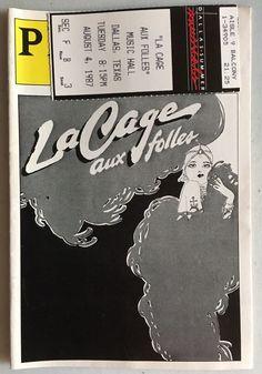 Vintage La Cage aux folles Playbill 1987 by Harvey Fierstein w/ Larry Kert