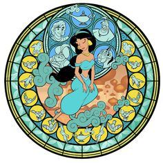 I wish Jasmine had her own stained glass in Kingdom Hearts. Disney Love, Disney Magic, Disney Art, Walt Disney, Kingdom Hearts Crossover, Kingdom Hearts Art, Disney Jasmine, Aladdin And Jasmine, Disney Stained Glass