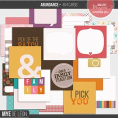 Abundance 4x4 Journal Cards by Mye De Leon. A set of 4×4 journal cards that is perfect for digital project life and digital scrapbooking.