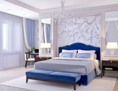 Traditional style blue velvet bedroom decor with blue curved velvet bed and blue bench See other ideas and pictures from the category menu…. Faneks healthy and active life ideas Luxury Bedroom Design, Master Bedroom Design, Home Interior Design, Bedroom Designs, Bedroom Ideas, Interior Livingroom, Blue Bedroom Decor, Bedroom Colors, Home Bedroom