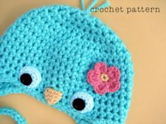 PDF Crochet Pattern Baby Bluebird Hat w Flower.