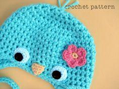 PDF Crochet Pattern Baby Bluebird Hat w Flower.