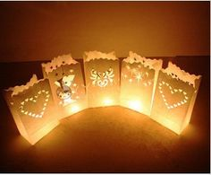 10 paper candle lantern bags for wedding party favor