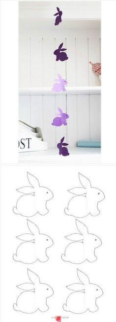 Des patrons pour une guirlande de lapins de Pâques.