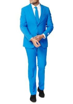 OppoSuits Blue Blue Steel Solid Suit