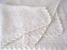 Filet Crochet X's and O's Newborn Baby Girl by AfghansForBabies