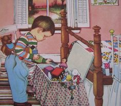 Eloise Wilkin - We Help Mummy  This picture reminds me of my cousin, Paul, when he was little.  It looks like his bedroom.