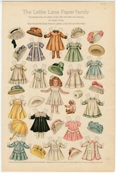 75.2755: The Lettie Lane Paper Family: Presenting One of Lettie's Dolls, with Her Hats & Dresses | paper doll | Paper Dolls | Dolls | Online Collections | The Strong