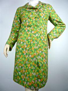 60s Mod Pretty  green floral Coat
