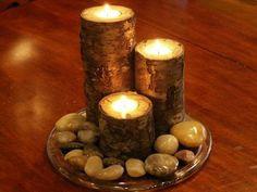 Birch Bark Real Wood Candle Holders Handmade Log Rustic Cabin Decor Tea Lite Tea Light Wedding