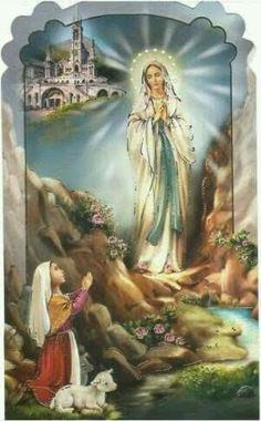 Our Lady of Lourdes Blessed Mother Mary, Divine Mother, Blessed Virgin Mary, Catholic Art, Catholic Saints, Religious Art, Mother Mary Images, Images Of Mary, Religious Pictures
