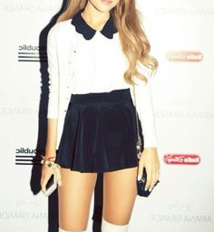 Ariana Grande: Don't Copy My Style! Ariana Grande Style ~ love this girly look. Skirt is a bit too short, but I love the cardigan and scalloped collar button down shirt together. Girly Outfits, Skirt Outfits, Summer Outfits, Cute Outfits, Ariana Grande Outfits, Casual Chic, Cute Fashion, Fashion Outfits, Diva Fashion