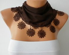 Lace/Flower Edge Scarf from fatwoman on Etsy