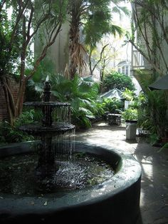 New Orleans shady courtyard and fountain.