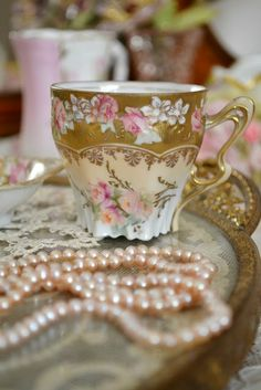 Pink pearls and a gorgeous Vintage Teacup