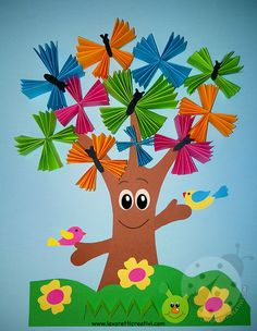 Spring Arts And Crafts, Summer Crafts For Kids, Art For Kids, Preschool Crafts, Easter Crafts, Kids Crafts, Diy And Crafts, Insect Crafts, Tree Crafts