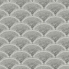 Feather Fan Wallpaper A soft geometric fan pattern, enlarged from the original design. Black print on off white background.