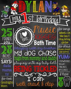 Paw Patrol First Birthday Chalkboard/ Paw by DylanAndMadison