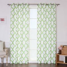 "Best Home Fashion, Inc. Oxford Basketweave Curtain Panels Color: Green, Size: 52"" W x 84"" L"