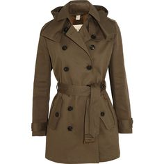 Burberry Brit Mid-length cotton-twill trench coat (1.500 BRL) ❤ liked on Polyvore featuring outerwear, coats, jackets, coats & jackets, casacos, sage green, double breasted coat, green trench coat, brown coat and mid length coat
