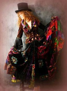 Top hat with boho dress