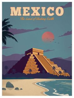 Vintage Travel Travel Poster from IdeaStorm Mexico - Size - Digital Print on 80 lb cover matte white *SHIPPING DETAILS* Items will be mailed out in tubes within 3 days after order. Posters Paris, Posters Decor, Kunst Poster, A4 Poster, Poster Prints, Poster Collage, Art Print, Poster Wall, Wall Prints