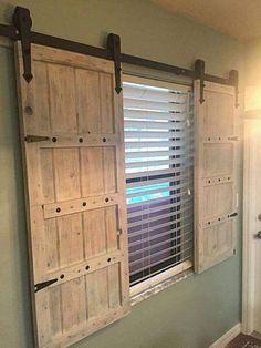 Sliding Barn Door Shutters - Wood Shutters - Window Shutters - March 10 2019 at Door Design, Window Shutters Exterior, Barn Door Window, Shutter Doors, Barn Door Shutters, Exterior Door Styles, Windows Exterior, Doors Interior, House Interior