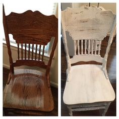 Shabby chic press back chairs. Chalk paint distress and antique wax