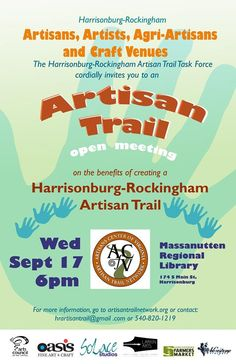Informational meeting about the benefits of creating a Harrisonburg-Rockingham Artisan Trail | September 17, 2014