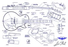 Gibson Les Paul Blueprint Drawing Drawing by Jon Neidert