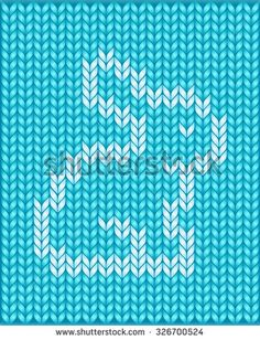 Vector illustration of seamless knitted pattern with sitting rabbit