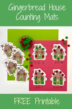 Gingerbread House Counting Cards. Free printable gingerbread house counting mats. Use these gingerbread house numbers for counting or addition.   #gingerbread #kids #christmas #counting #addition #kidsactivities Gingerbread Man Activities, Christmas Activities For Kids, Kids Learning Activities, Fun Learning, Kids Christmas, Literacy Games, Easy Crafts For Kids, House Numbers, Early Childhood