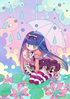 Tags: Anime, Rain, Panty and Stocking With Garterbelt, Anarchy Stocking, Amimi, Two-tone Hair, Striped Legwear