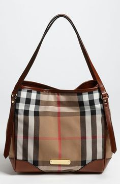 Burberry 'House Check' Tote at Nordstrom.com. Timeless checks course across a leather-trimmed tote with a structured silhouette courtesy of an interior, snap-closure bridge strap.