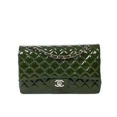 Chanel Classic Double Flap 26cm Juniper Patent Leather | From a collection of rare vintage shoulder bags at https://www.1stdibs.com/fashion/handbags-purses-bags/shoulder-bags/