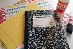 Making an altered composition notebook with cricut machine.