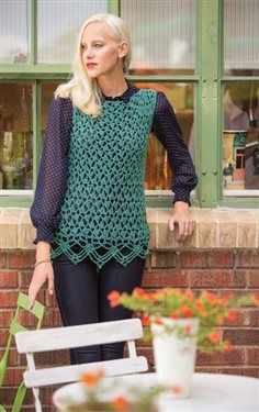 The crochet lace edging on this crochet tunic is gorgeous! Isabelle Sleeveless Tunic - Media - Crochet Me