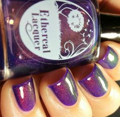 Ethereal Lacquer Worlds Apart - A sheer violet jelly with color shifting shimmer that transitions from red/copper/green. Swatch shows two coats over China glaze creative fantasy, intended for layering but can be worn alone in three to four coats.