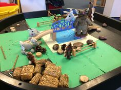Three Billy Goats Gruff small world Classroom Setting, Classroom Displays, Motor Activities, Activities For Kids, Billy Goats Gruff Story, Early Years Maths, Role Play Areas, Traditional Tales, Tuff Tray