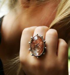 Crystal Pond Lodolite Sterling Silver Ring por MercuryOrchid